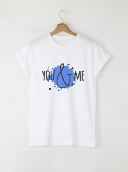 You & Me мъжка бяла тениска с дизайнерски принт