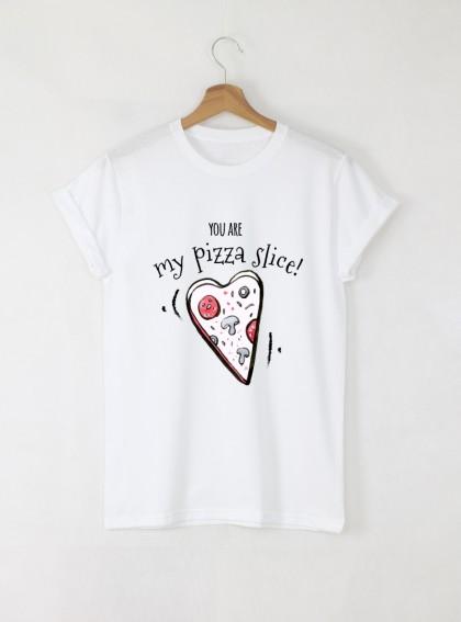 Love & Pizza Дамска бяла тениска с дизайнерски принт