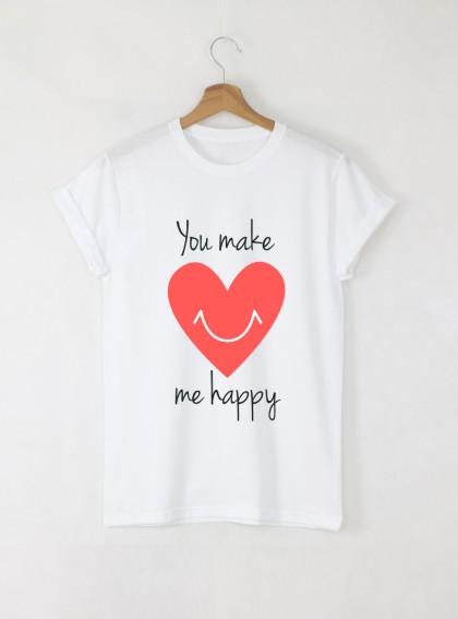 Make me Happy Дамска бяла тениска с дизайнерски принт