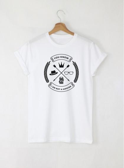 Hipster Not мъжка бяла тениска с дизайнерски принт