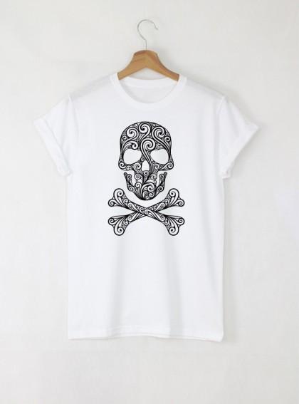 Skull Art мъжка бяла тениска с дизайнерски принт череп