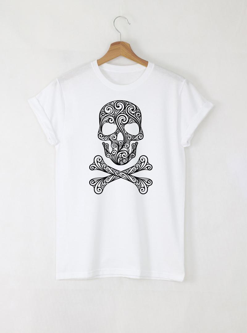 Skull Art Mъжка бяла тениска с дизайнерски принт череп