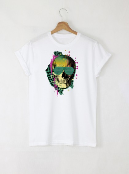 Skull Disco мъжка бяла тениска с дизайнерски принт череп