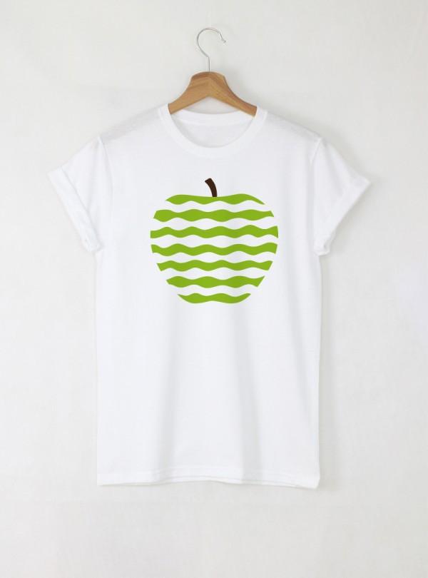 Apple Green Art мъжка бяла тениска с дизайнерски принт