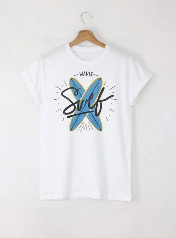 Surfs мъжка бяла тениска с дизайнерски принт