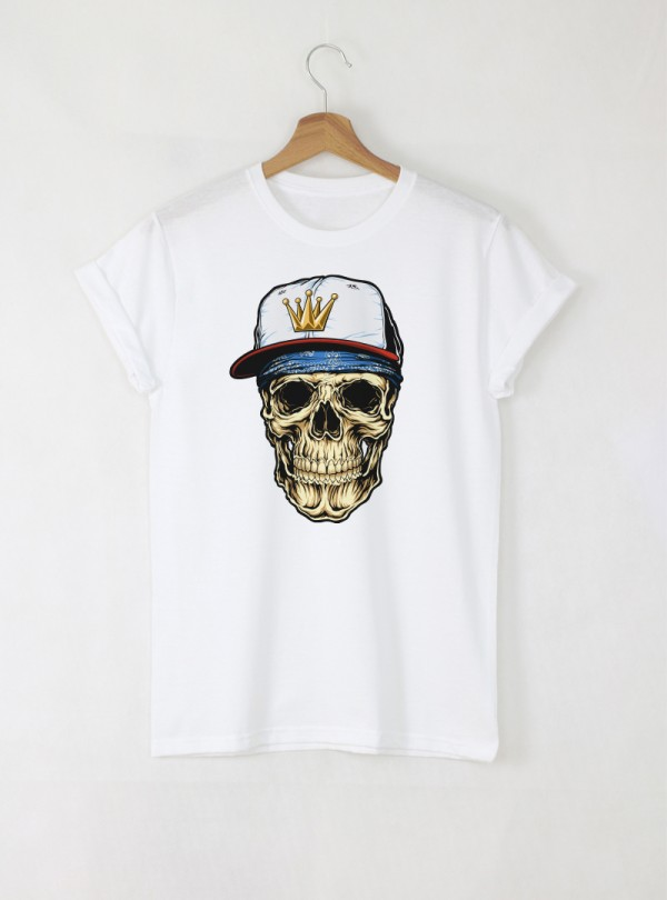 Hip-hop Skull Мъжка Бяла тениска с дизайнерски принт череп