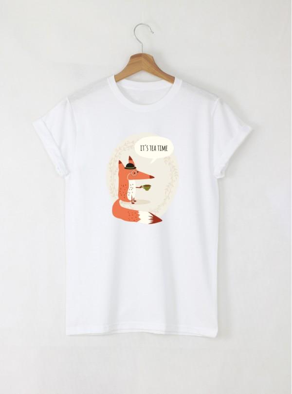 Fox tea мъжка бяла тениска с дизайнерски принт