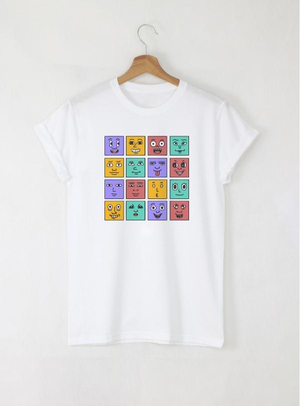 Faces мъжка бяла тениска с дизайнерски принт