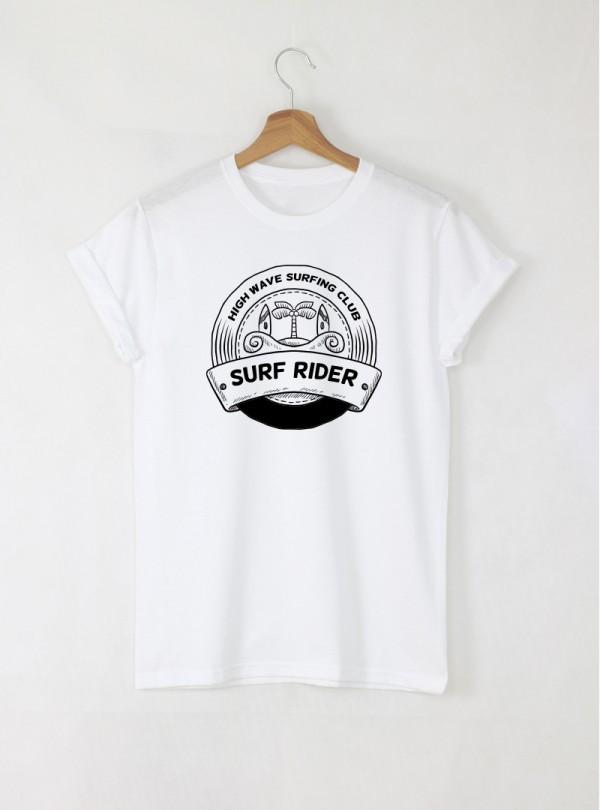 Surf Wave мъжка бяла тениска с дизайнерски принт