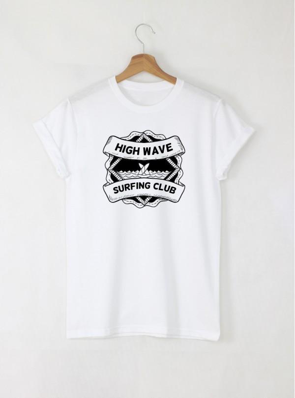 Surf Club Kahuna мъжка бяла тениска с дизайнерски принт