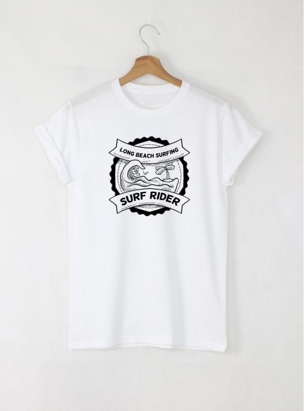 Surf Rider мъжка бяла тениска с дизайнерски принт