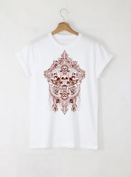 Skull Soul мъжка бяла тениска с дизайнерски принт череп