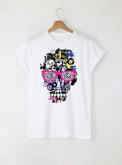 Skull Colorful Art Мъжка Бяла Тениска с Дизайнерски Принт Череп