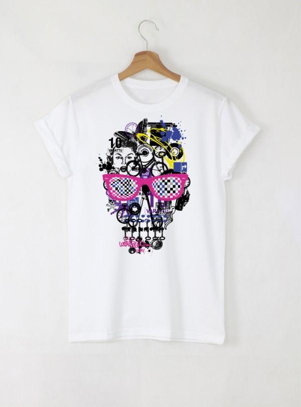 Skull Colorful Art Мъжка Бяла Тениска с Дизайнерски Принт Азиатски Размер