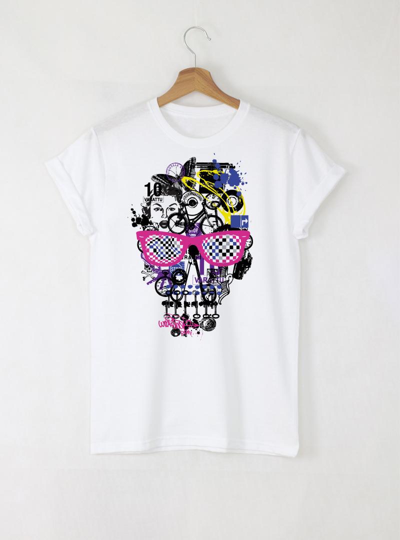 Skull Colorful Art мъжка бяла тениска с дизайнерски принт