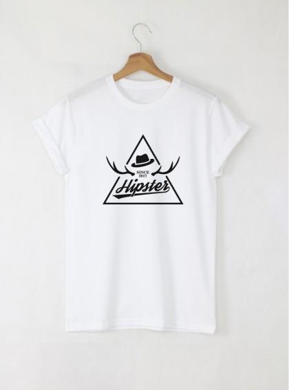 Hipster stamp мъжка бяла тениска с дизайнерски принт