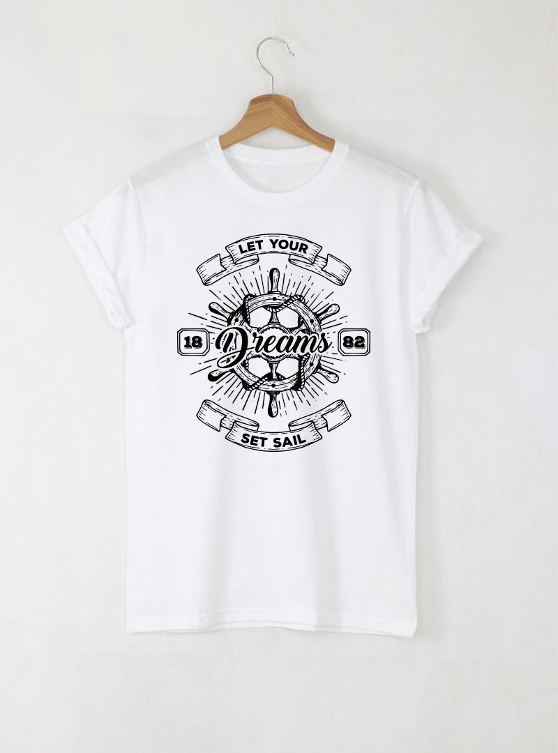 Set Sail мъжка бяла тениска с дизайнерски принт