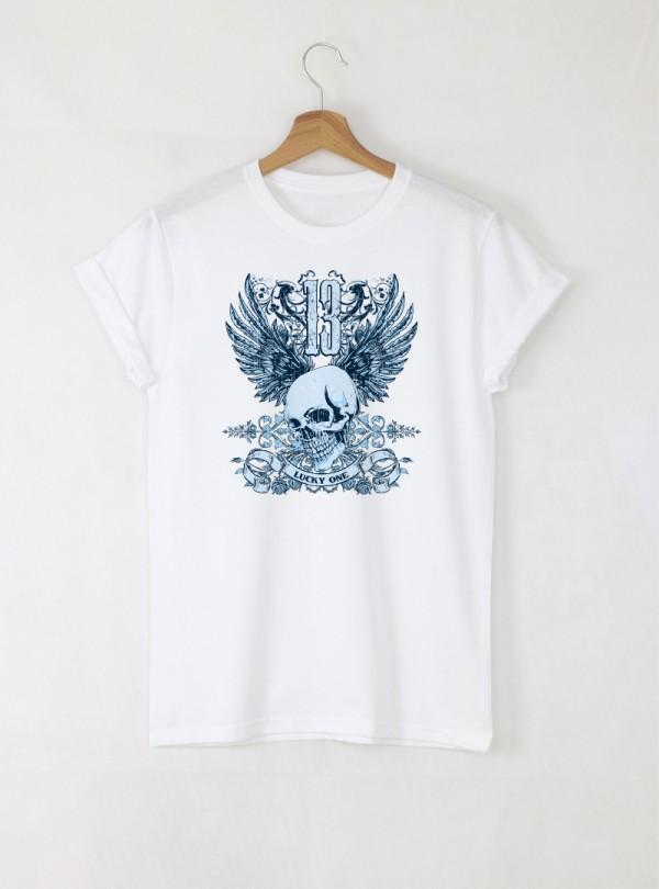 Skull Lucky One Blue Мъжка Бяла Тениска С Дизайнерски Принт От Органичен Памук