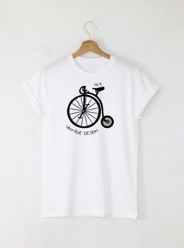 Vintage Bike мъжка бяла тениска с дизайнерски принт