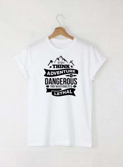 Adventure мъжка бяла тениска с дизайнерски принт