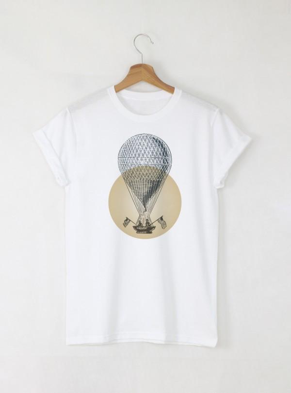 Vintage Balloon мъжка бяла тениска с дизайнерски принт