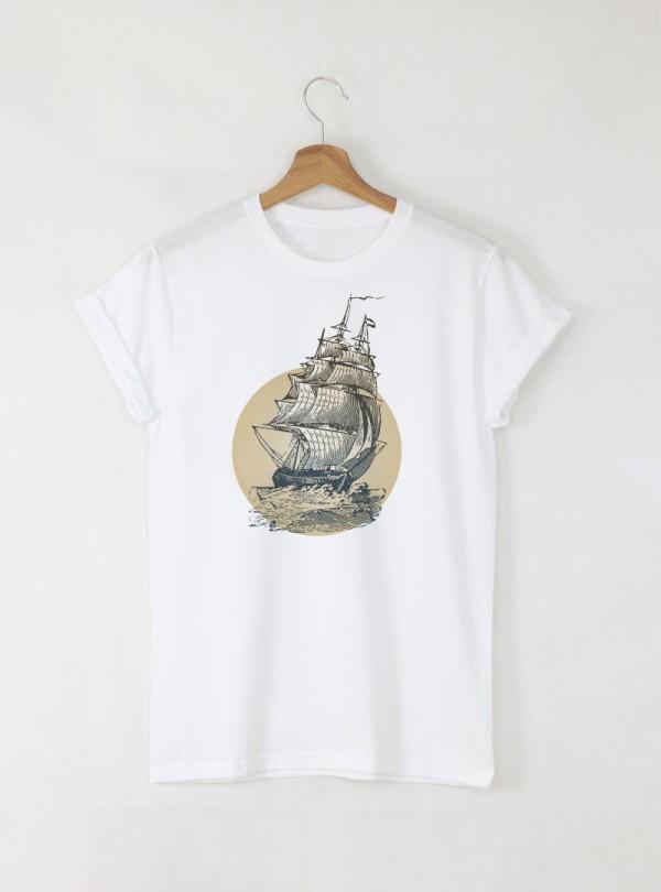 Vintage Ship мъжка бяла тениска с дизайнерски принт
