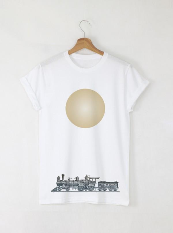 Vintage Train мъжка бяла тениска с дизайнерски принт