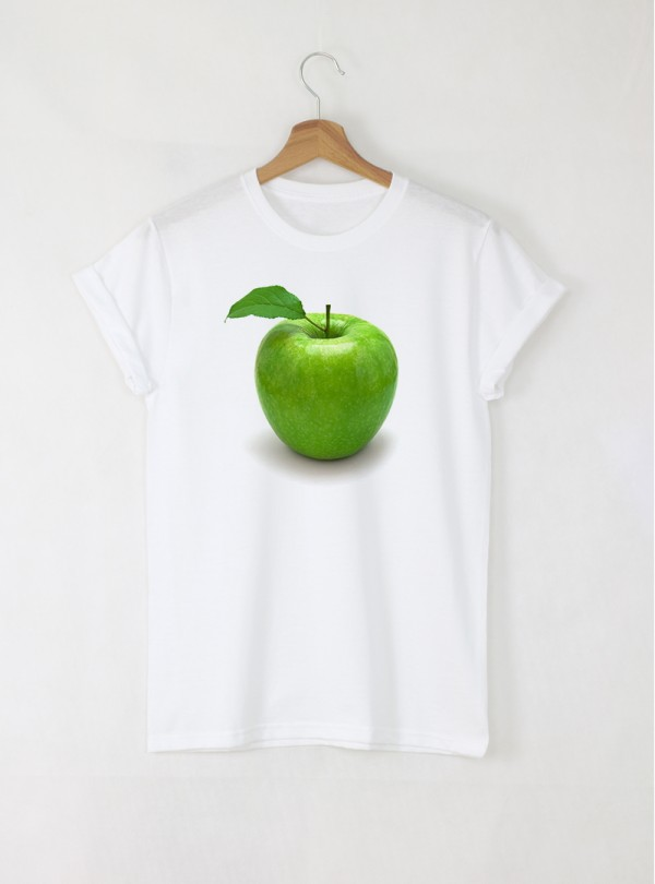 Green Apple Дамска Бяла Тениска С Дизайнерски Принт