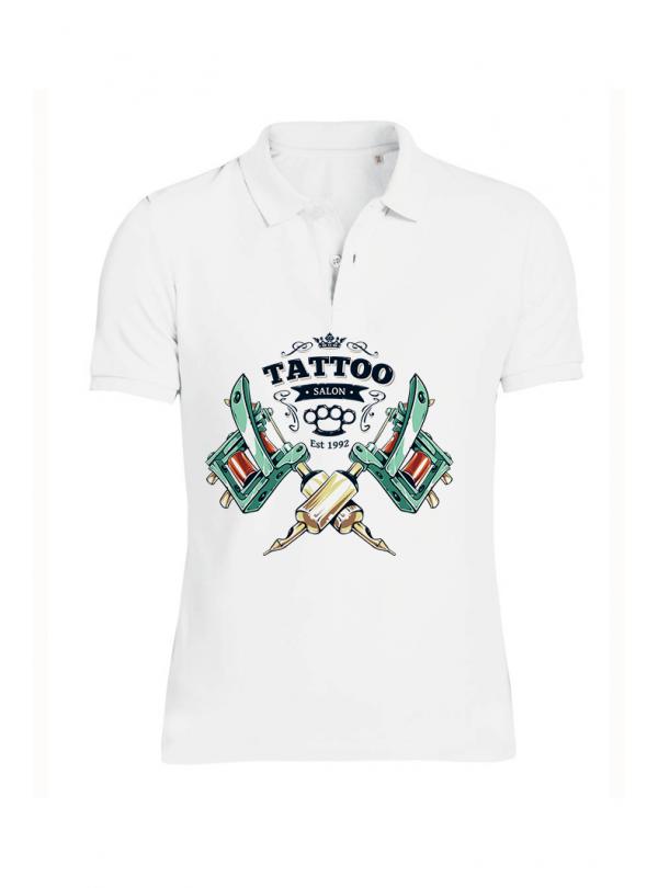Tattoo Style Мъжка Бяла Тениска с Яка с Дизайнерски Принт