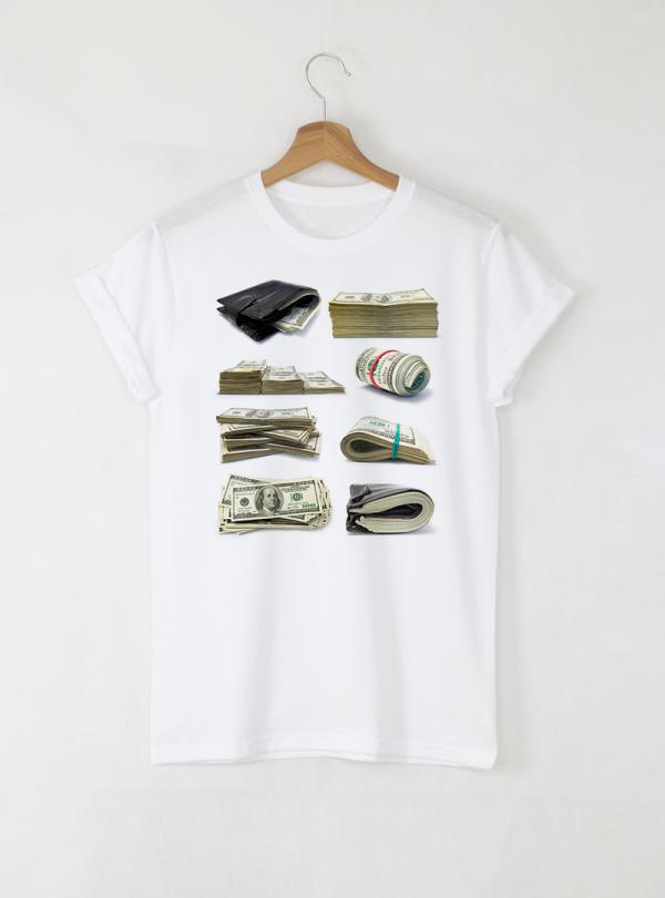 Cash Mony Мъжка бяла тениска с дизайнерски принт