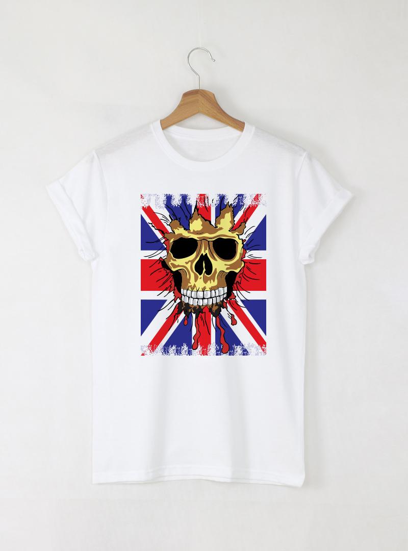 Skull England мъжка бяла тениска с дизайнерски принт череп