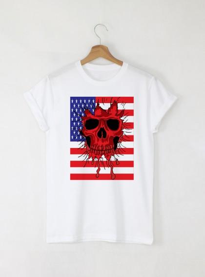 Skull USA мъжка бяла тениска с дизайнерски принт череп