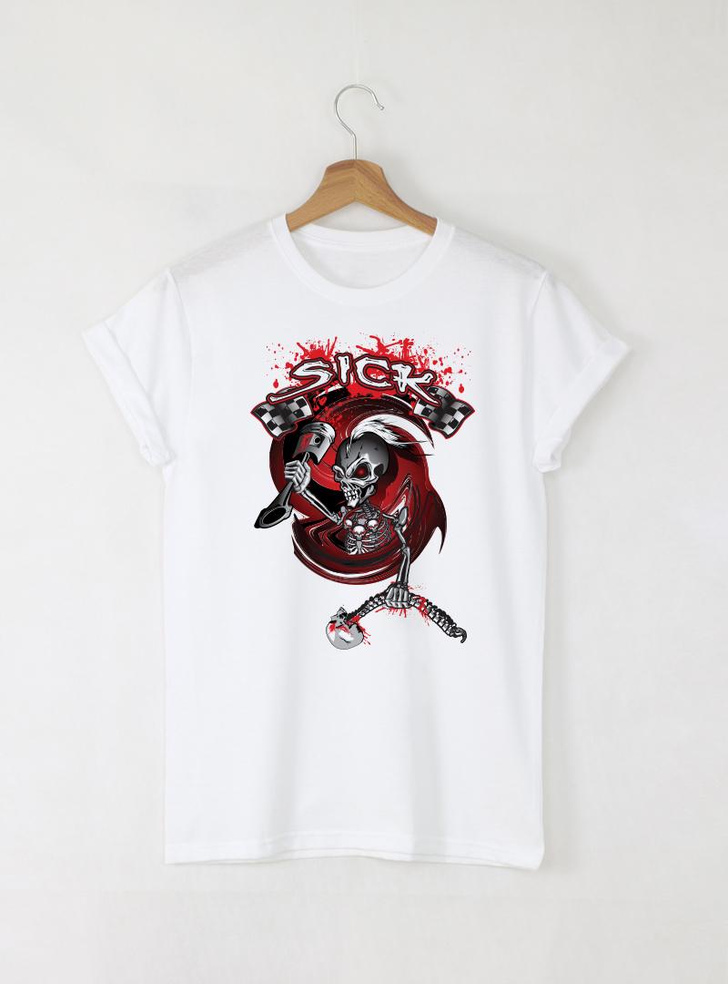 Skull Sick мъжка бяла тениска с дизайнерски принт череп