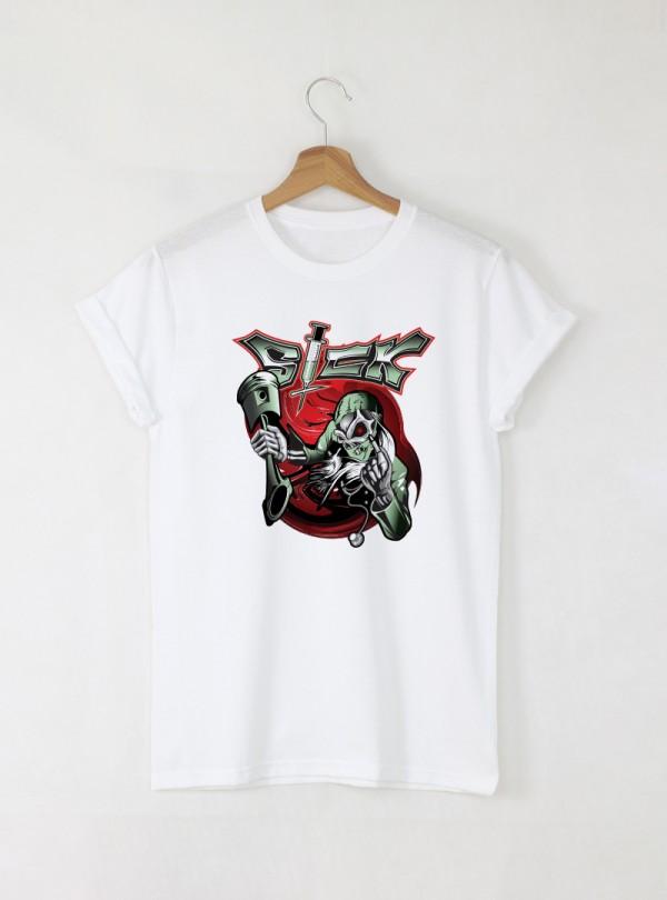 Skull Sick 2 мъжка бяла тениска с дизайнерски принт череп