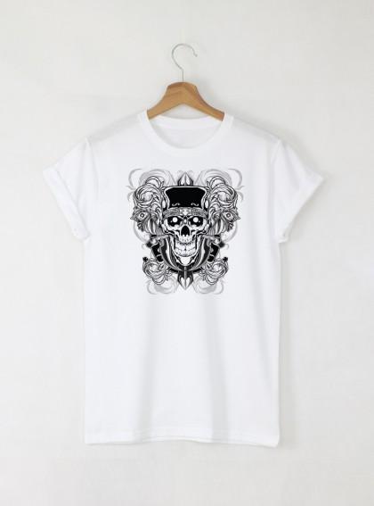 Skull 2 Tattoo мъжка бяла тениска с дизайнерски принт череп