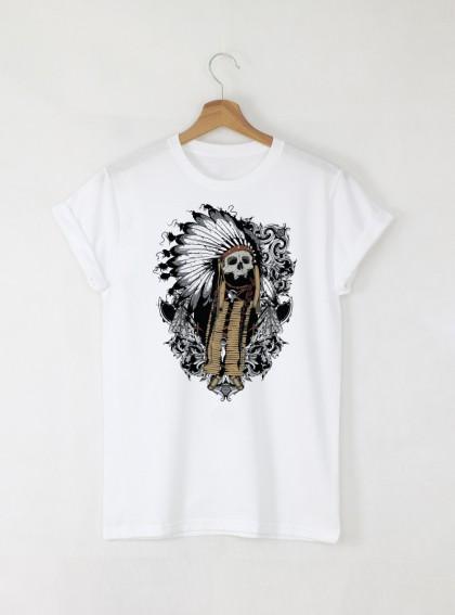 Skull Sachem мъжка бяла тениска с дизайнерски принт череп