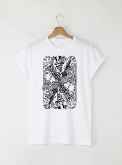 Skull Card мъжка бяла тениска с дизайнерски принт череп