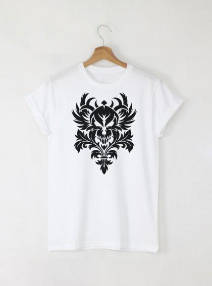 Skull Vintage мъжка бяла тениска с дизайнерски принт череп