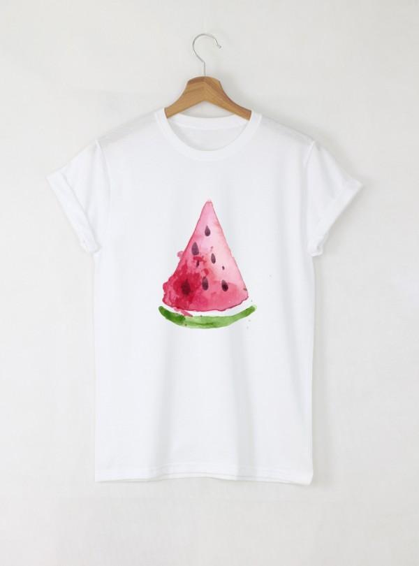 Watermelon Slice Aquarelle Детска бяла тениска за момиче с дизайнерски принт