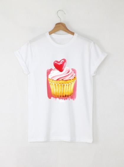 Muffin Love Дамска бяла тениска с дизайнерски принт