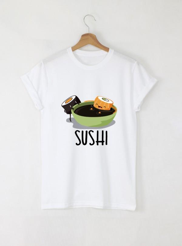 Sushi Дамска бяла тениска с дизайнерски принт