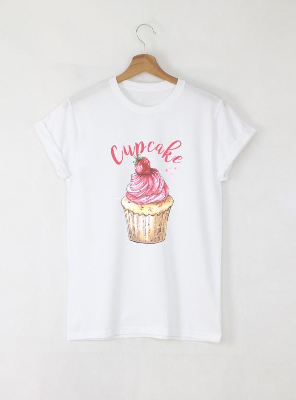 Cupcake Дамска бяла тениска с дизайнерски принт