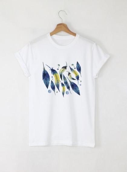 Dark Feathers Aquarelle Дамска бяла тениска с дизайнерски принт
