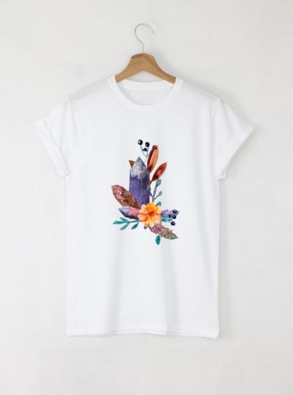 Feathers Flowers Crystals Дамска бяла тениска с дизайнерски принт