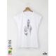 Three Feathers Дамска бяла тениска с дизайнерски принт