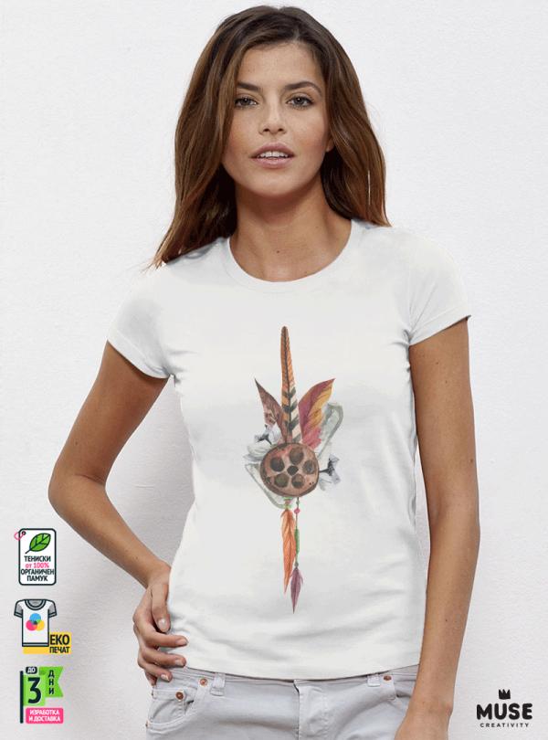 Feathers Flowers Дамска бяла тениска с дизайнерски принт