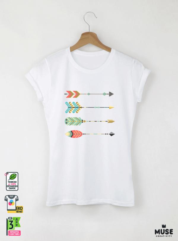 Arrows Дамска бяла тениска с дизайнерски принт