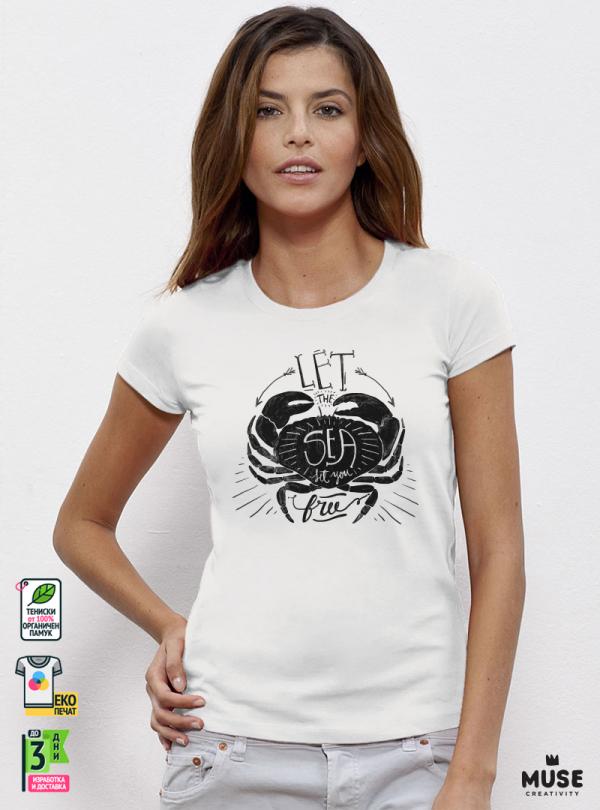 Sea Crab Дамска Бяла Тениска С Дизайнерски Принт