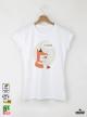 Fox tea дамска бяла тениска с дизайнерски принт