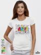 Music stamp дамска бяла тениска с дизайнерски принт